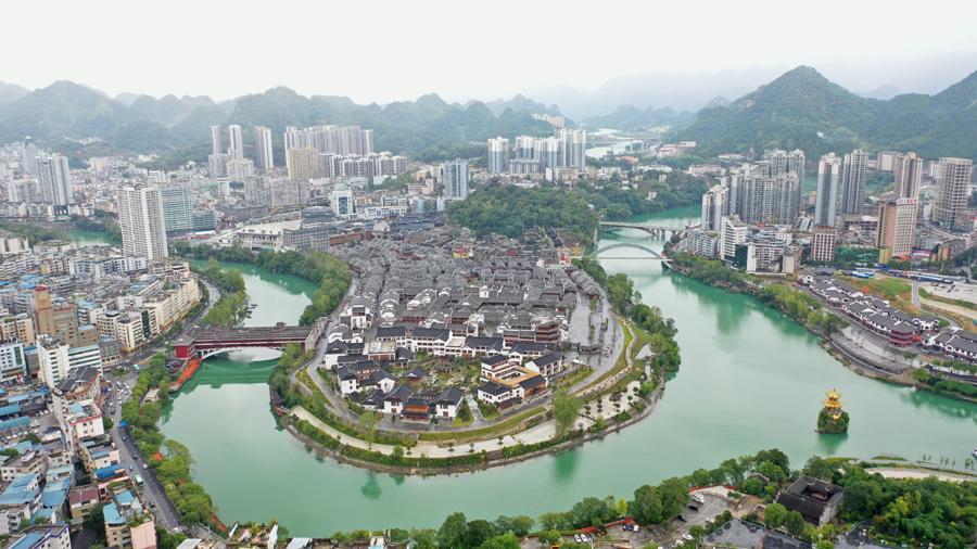 航拍貴州銅仁中南門歷史文化旅遊區