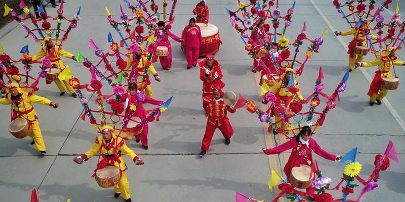 航拍陜西渭南市華州區傳統社火迎元宵